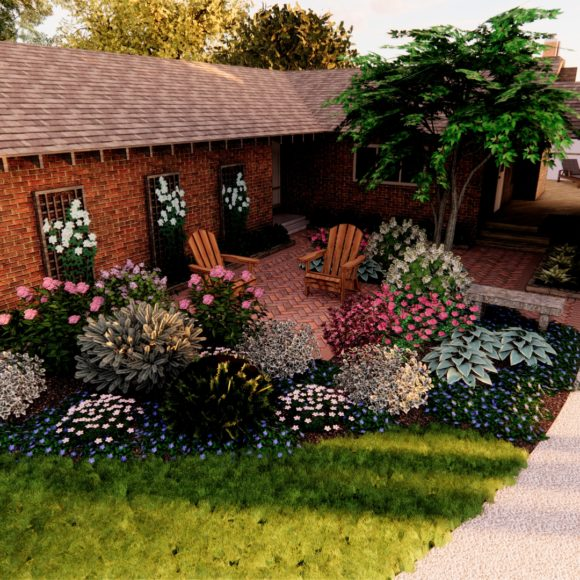Front Yard Patio with Plantings